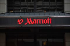 Marriott hotel neon sign with logo. stock photo