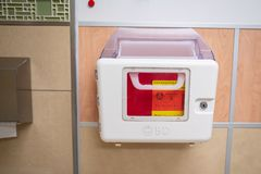 BD Recykleen Medical box for disposal of needles. stock images