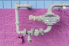 Natural gas meter on a pipe royalty free stock image