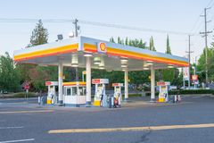 Empty shell gas station in the evening royalty free stock photo