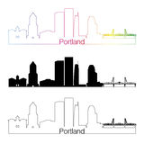Portland V2 skyline linear style with rainbow Stock Photo