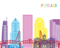 Portland V2 skyline pop Royalty Free Stock Images