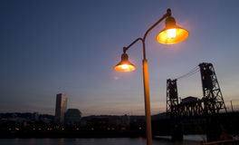 Street Lamp Draw Bridge Portland Oregon Waterfront Stock Photos