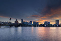 Portland Waterfront City Skyline at Sunset stock images