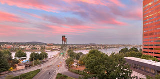 Portland Waterfront Hawthorne Bridge at Sunset Royalty Free Stock Photo