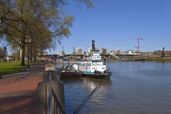 Portland waterfront steamboat and city view. Stock Photos