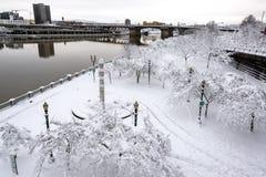 Portland Waterfront Under Snow Royalty Free Stock Photos