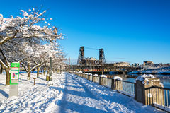 Portland Waterfront in Winter stock photo