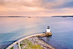Portland-Wellenbrecher-Licht in Maine stockbilder