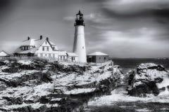 Portlandzka Maine reflektoru zimy scena czarny i biały zdjęcie stock