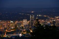 Portlandzka panorama przy nocą Obrazy Royalty Free