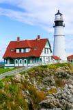 Portlandzka reflektor latarnia morska w Południowym Portlandzkim Maine Fotografia Stock