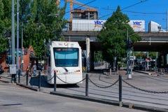 Portlandzki jawny transport, MAX światła poręcz przy róży ćwiartki TC MAX stacją obrazy stock