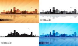 Portlandzkie miasto linii horyzontu sylwetki ustawiać Obrazy Stock