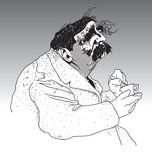 Portly middle-aged man. Humorous black and white drawing of a portly middle-aged man with black hairy eyebrows and a moustache holding a cup and saucer Royalty Free Stock Photos