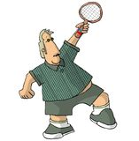 Portly Tennis Player. This illustration that I created depicts a portly man stretching to hit a tennis ball Stock Photo