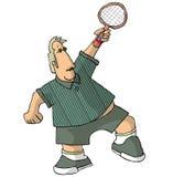 Portly Tennis-Spieler Stockfoto
