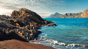 Portman village. Rocky coast of Portman. Located between La Manga Club and Cartagena. Murcia, Spain Stock Photos