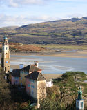 Portmeirion view with tower Royalty Free Stock Image
