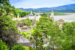 Portmeirion. View of the town from a hill Royalty Free Stock Photo