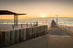 PortNoarlunga brygga på solnedgången Arkivfoton