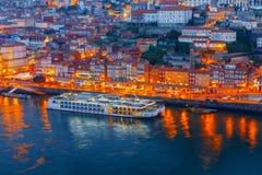 porto Вид с воздуха города на зоре Стоковые Изображения RF