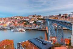 porto Мост Дон Луис в голубом часе Стоковая Фотография