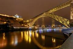 porto Мост Дон Луис на ноче Стоковые Фото