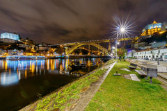 porto Мост Дон Луис на ноче Стоковая Фотография