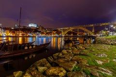 porto Мост Дон Луис на ноче Стоковые Изображения