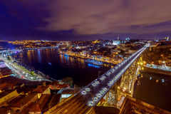 porto Мост Дон Луис на ноче Стоковое Изображение RF