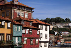Porto 6. Portugal Porto City The Ribeira Douro River - a UNESCO World heritage site typical colorful old houses stock photo