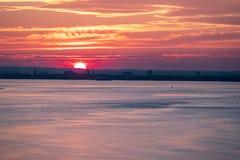 Porto al tramonto, Inghilterra - Regno Unito del guscio fotografie stock libere da diritti