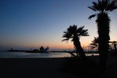 Porto al tramonto, Roma, Italia di Ostia fotografia stock