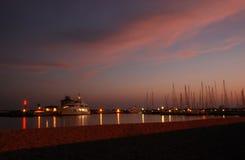 Porto al tramonto, Roma, Italia di Ostia Fotografia Stock Libera da Diritti