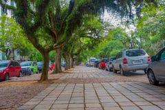 PORTO ALEGRE BRASILIEN - MAJ 06, 2016: trevlig gata med träd i trottoaren och bilarna som parkeras bredvid den Arkivbilder