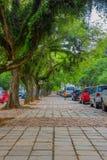 PORTO ALEGRE BRASILIEN - MAJ 06, 2016: trevlig trottoar med l, ot av träd på det, bilar som parkeras bredvid trottoaren Arkivbild