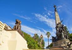 Porto Alegre, Brazi: o Júlio de Castilhos Monumento ao centro do quadrado Praçà Dinamarca Matriz de Matriz, Porto Alegre, imagem de stock