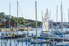Porto amarrado Langedrag dos leisureboats Imagem de Stock