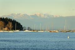 Porto Anchorage di Nanaimo e montagne della costa Immagine Stock