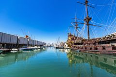 Porto antico i Genua, Italien Arkivbilder