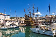 Porto antico i Genua, Italien Royaltyfria Bilder