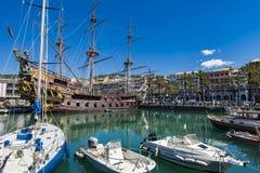 Porto antico i Genua, Italien Royaltyfri Bild