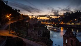 Porto após o por do sol fotografia de stock
