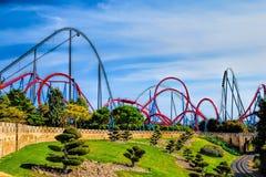 Porto Aventura do parque de diversões, montanha russa Imagens de Stock