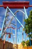 Porto Aventura, Shambhala e Dragon Khan do parque sem turistas, somente roller coaster foto de stock