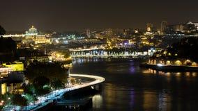 Porto bij nacht, Porto Stock Afbeeldingen