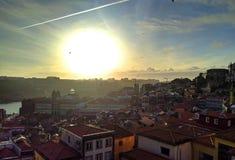 Porto bij zonsondergang portugal royalty-vrije stock foto's