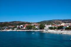 Porto bonito Agios Nikolaos do lugar, Ormos Panagias, Sithonia, Grécia Foto de Stock Royalty Free