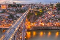 Porto and bridge at night, Portugal Stock Photography
